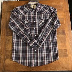 Costal Men's Plaid Gray Long Sleeve Shirt Large